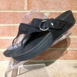 FitFlop Black Nubuck Leather Flip Thong Sandals Sz